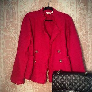 Chico's red tweed blazer